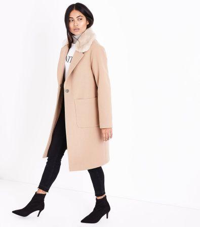 petite-camel-faux-fur-collar-longline-coat