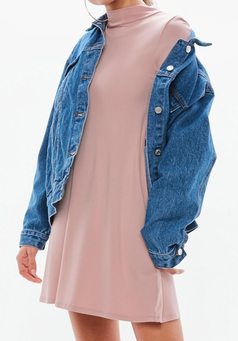 pink-high-neck-long-sleeve-skater-dress-2