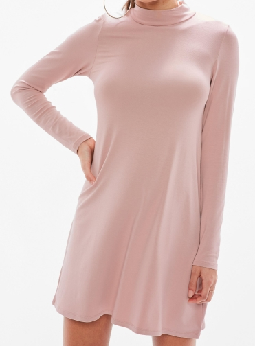 pink-high-neck-long-sleeve-skater-dress